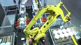 Robotic Pail Palletizing System with FANUC Palletizing Robot - PASCO
