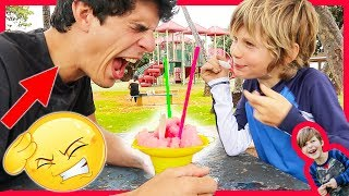 Axel and Daddy Brain Freeze Challenge! (Axel Won BiG time!)