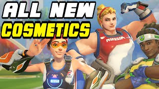 Overwatch Olympic Summer Games ALL COSMETIC ITEMS!   SKINS, EMOTES, VOICE LINES & MORE!