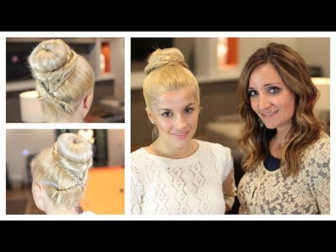 Cross-Braid Sock Bun | Guest EveliniCutza | Cute Girls Hairstyles