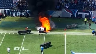 Tennessee Titans Pyro Machine CATCHES FIRE on the Field!