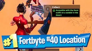 Fortnite Fortbyte #40 Location - Accessible with the Demi outfit on a Sundial in the Desert