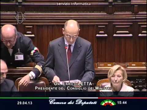 Premier Enrico Letta Voto Fiducia Parlamento - Camera - Video del Discorso di Aperura