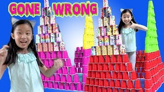 Pretend Play STACKING Game with Giant Cup Wall Gone Wrong