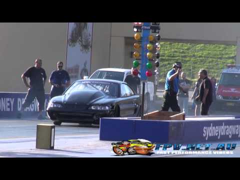 BK RACE ENGINES OUTLAW 10.5 TWIN TURBO V8 MUSTANG BREAKS INTO THE 7'S AT SYDNEY DRAGWAY 10.5.2013