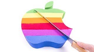 Baby Learn Colors DIY How to Make Kinetic Sand Cake Rainbow Apple Logo for kids Children