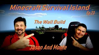 Minecraft Survival Island Building a Wall Ep.23 Family Gaming
