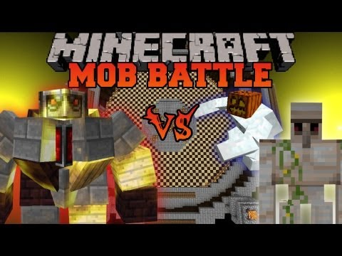 BIG Golem Vs. Iron Golem and Mutant Snow Golem - Mob Battles - Mo' Creatures and Mutant Creatures
