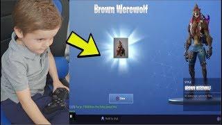*5 YEAR OLD KID* UNLOCKS NEW MAX TIER 100 'DIRE' EPIC Hidden Brown WereWolf Outfit (Fortnite)