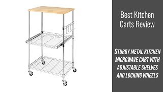Kitchen Cart Review - Sturdy Metal Kitchen Microwave Cart with Adjustable Shelves and Locking Wheels