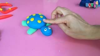 Dạy bé nặn đất sét con vật | tạo hình con rùa biển | Dạy bé học