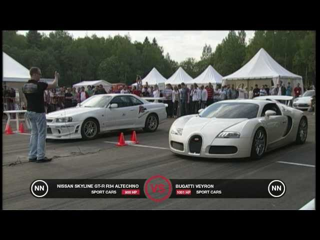 Bugatti Veyron vs Nissan Skyline GT-R R34 - YouTube