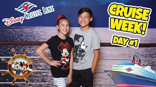 ALL ABOARD THE DISNEY MAGIC!!! Room Tour & Sail Away Party! CRUISE WEEK - Day 1