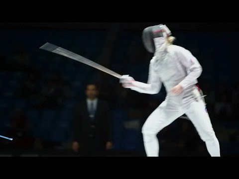 Duel of sportswomen on world championship of fencing. Stock Footage