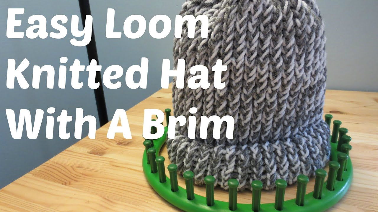 36 Peg Loom Knitting Patterns : Easy Loom Knitted Hat With A Brim - YouTube