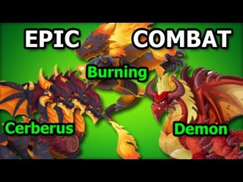 EPIC COMBAT Dungeon Island Cerberus Dragon Demon Dragon and  Burning Dragon Attacks Fight