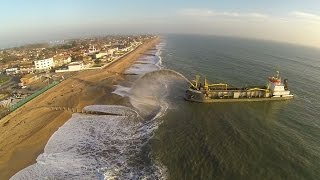 Suction Dredger (Sospan-Dau) Hayling Is. Quadcopter flight Nov 2014