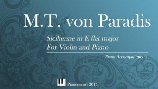 M T Von Paradis Sicilienne In E Flat Major Violin Or Flute And Piano Piano Accompaniment