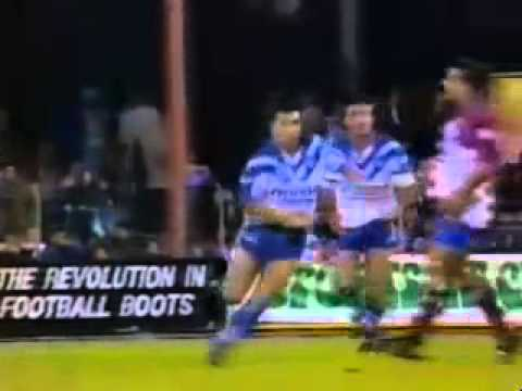 Daryl Halligan Try for Canterbury-Bankstown Bulldogs against Manly-Warringah Sea Eagles in a 1994 Winfield Cup match at the Belmore Sports Ground. Halligan out paces Jack Elsegood and ...