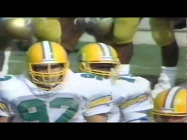 Oregon LB Scott Kozack and CB Ron Gould stuff UCLA RB Gaston Green 10-17-87