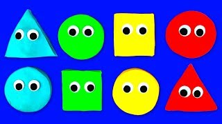Learn Shapes and Colors with Play Doh Stop Motion Smiley Face Surprise for Kids and Children