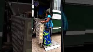 A Physically Challenged Girl Using Disabled Friendly Bus.