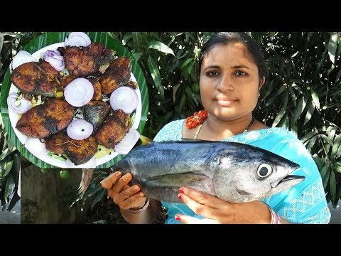 Big Tuna Fish Fry Recipe Traditional Way Of Cooking In My Village | Roasted Fish Recipe | Sea Foods