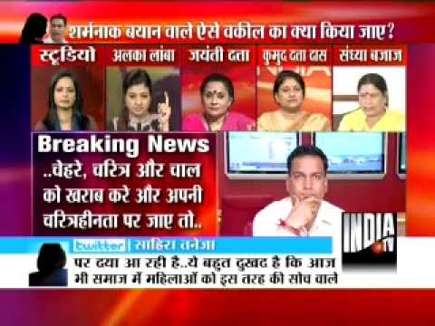 India TV live debate on A P Singh remark against women Part 4