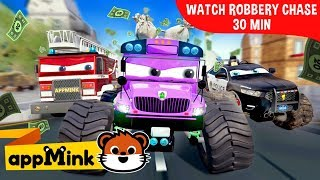 appMink car animation - Police Car Chase Robber with Fire Truck & Garbage Truck