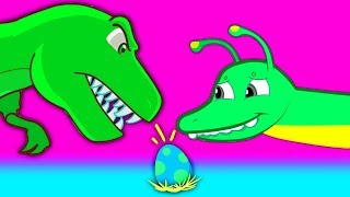 Groovy The Martian go to Jurassic World to save a dinosaur egg from a t-rex Episode & Nursery Rhymes