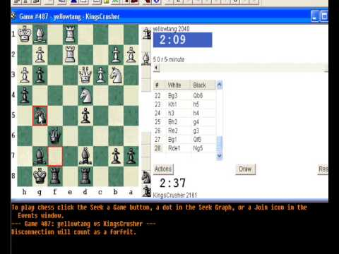 Chessworld.net : Blitz #258 vs. yellowtang (2040) - Levitsky attack (Queen's bishop attack) (D00)