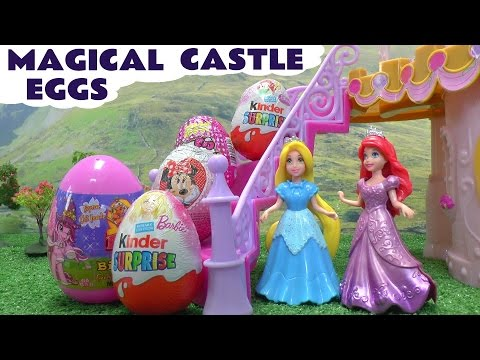 Frozen Princess Ariel Magiclip Play Doh Barbie Surprise Eggs Rapunzel Elsa Disney Magical Castle