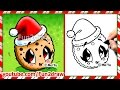 How to Draw Christmas - Cookie with Santa Hat - Kawaii Food Snacks Desserts Easy Fun2draw