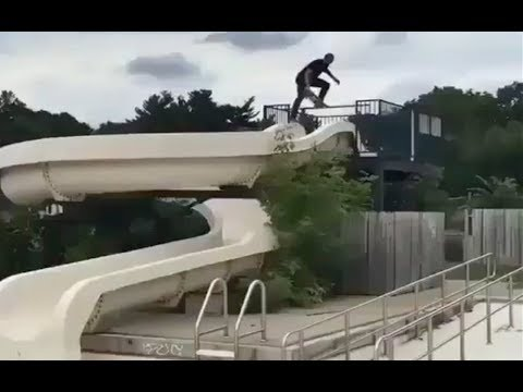 INSTABLAST! - Water Park Skateboarding!! Hood Drop-in Gone WRONG!! Skating Big Gap Into The Ocean!!