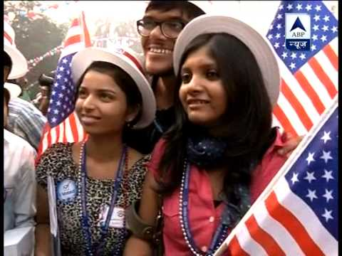 Celebrations at US embassy in India after Obama's victory