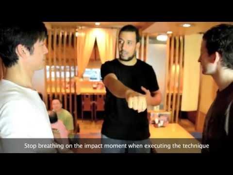 Naka Tatsuya sensei teaching Karate in a restaurant