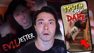 PLAYING TRUTH OR DARE WITH EVIL JESTER AT 3 AM!! *PUSHED DOWNSTAIRS*