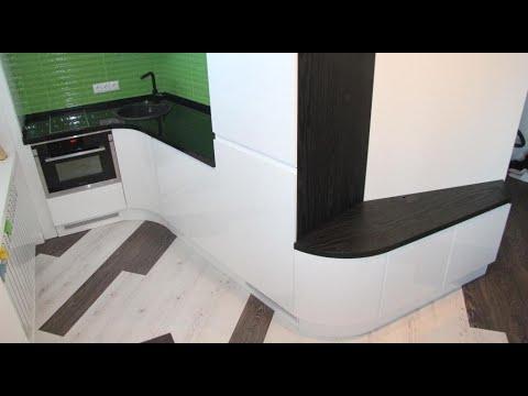 Угловая кухня с гнутыми фасадами. Современная кухня без ручек 2017. Фасады мдф покраска. Киев
