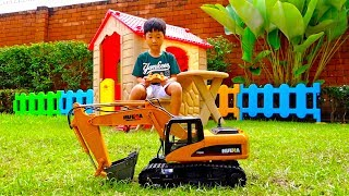 Excavator Car Toy Video for Kids Power Wheels Vehicle Pretend Play