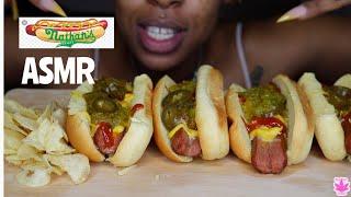 NATHANS BEEF HOTDOGS W/ SALT N VINEGAR CHIPS ASMR | BIG BITES LOUD CRUNCH | STONED GIRL EATS