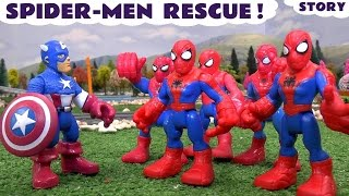Spiderman Rescue  Avengers Captain America | Thomas and Friends Toys with Iron Man Action Story