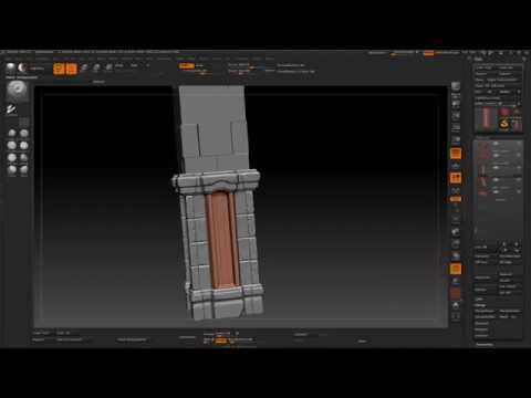 Game Environment Creation 20 - zBrush Pillar Sculpting Starting Front Section