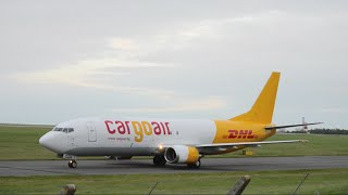Cargo Air | 737-448SF | DHL/CargoAir Special Livery | LZ-CGR | Landing At East Midlands Airport | HD