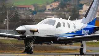 BRAND NEW TBM 900 N900AZ landing, close-up, startup, takeoff at Albi-Le Séquestre [LBI/LFCI]