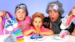 3 Colors Tie Dye Shoes Challenge! Greedy Granny vs Ruby Rube & Bonnie