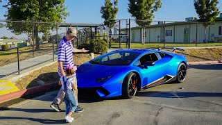 Picking Up Daughter From Pre-School In LAMBORGHINI!