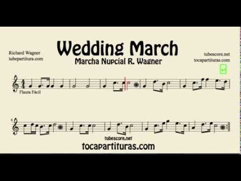 Wedding March Wagner Sheet Music for Easy Flute and Recorder - YouTube