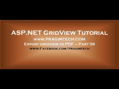 Export gridview to pdf in asp.net - Part 58