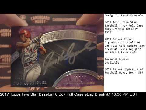 2017 Topps Five Star Baseball 8 Box Full Case Break eBay 12/17/17