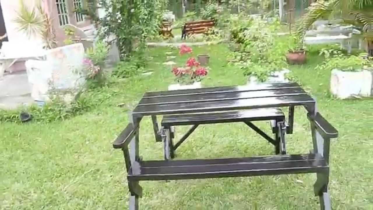 Banca de jardin a mesa picnic madera tratada y en color for Mesas de madera para jardin